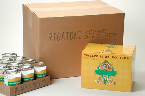 printed labels on cardboard box and other packaging